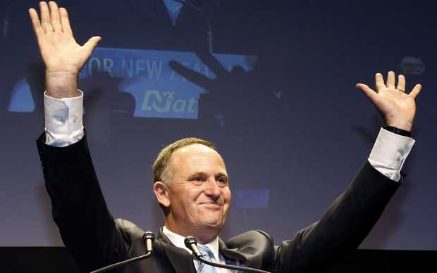 John Key declares victory for the National Party.