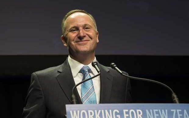 John Key takes a moment to relish his victory.