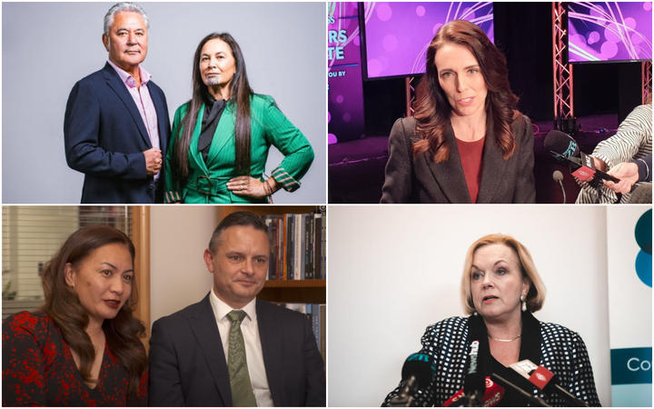 Māori Party co-leaders John Tamihere and Debbie Ngarewa-Packer, Labour leader Jacinda Ardern, Green Party co-leaders Marama Davidson and James Shaw and National leader Judith Collins.