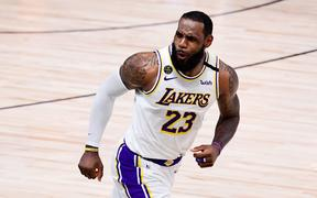 LeBron James #23 of the Los Angeles Lakers reacts during the fourth quarter against the Miami Heat in Game Six of the 2020 NBA Finals