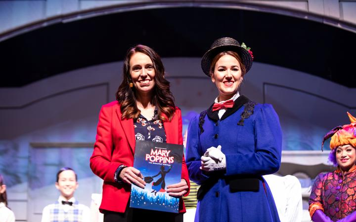 Labour leader Jacinda Ardern visited Auckland's Civic Theatre, where a production of Mary Poppins will open on Friday.