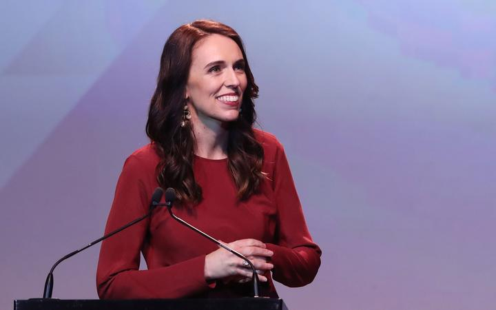 New Zealand Prime Minister Jacinda Ardern speaks at the Labour Party's after party after victory in the the country's general election in Auckland on October 16, 2020.