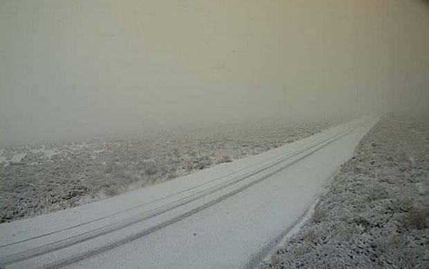 The Desert Road was closed due to snow earlier today.