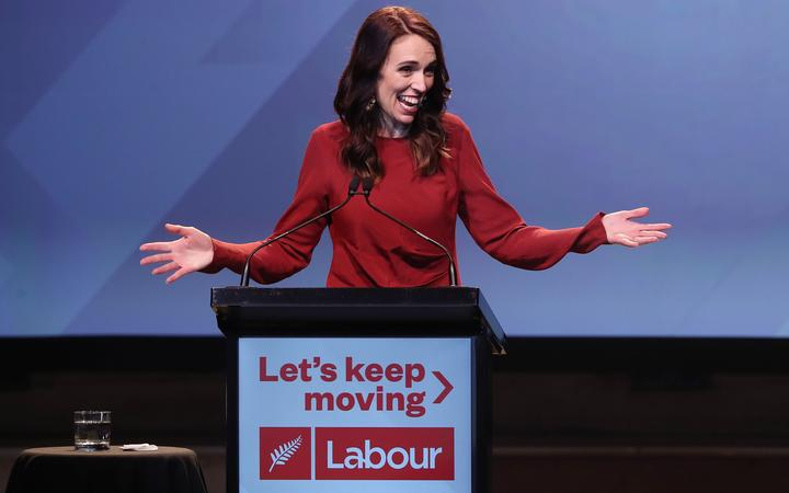 New Zealand Prime Minister Jacinda Ardern speaks at the Labour Election Day party after the Labour Party won New Zealand's general election in Auckland on October 16, 2020.