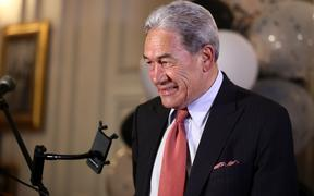AUCKLAND, NEW ZEALAND - OCTOBER 17: New Zealand First leader Winston Peters speaks to supporters at the Duke of Marlborough Hotel on Saturday, October 17, 2020.