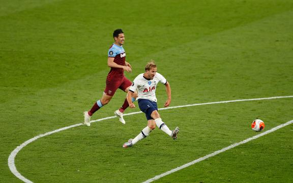 Harry Kane of Spurs scores against West Ham.