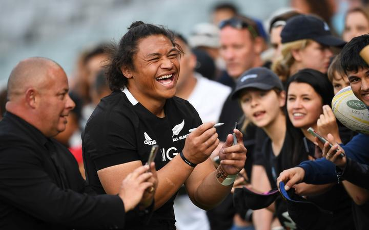 Caleb Clarke has a selfie with fans after the second Bledisloe Cup test Auckland 2020.