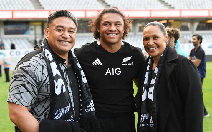 Caleb Clarke with parents Eroni and Siala after the second Bledisloe Cup rugby test Auckland 2020.
