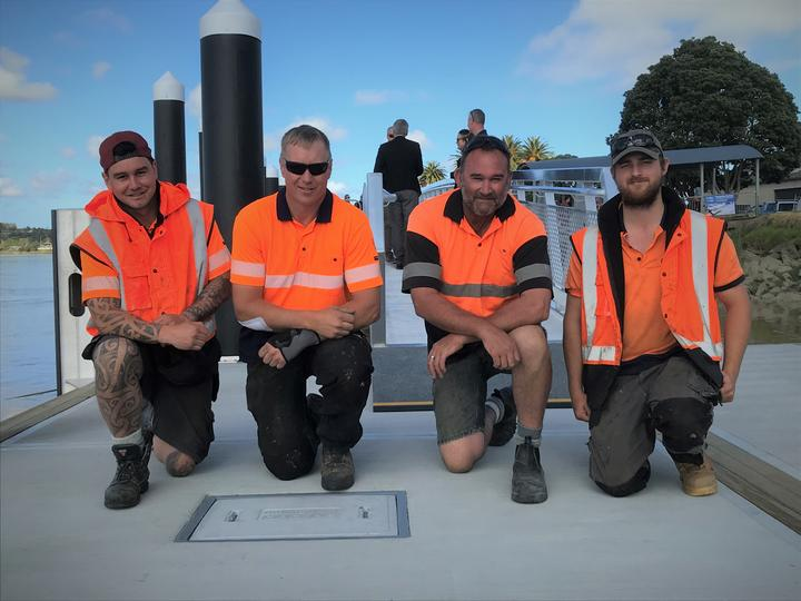 Part of the Dargaville pontoon construction crew (from left) James Sullivan, Gavin McPherson, Andrew Pilkington and Tim Maskell - all from Auckland.
