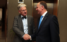 John Key, right, meets with United Future Leader Peter Dunne.