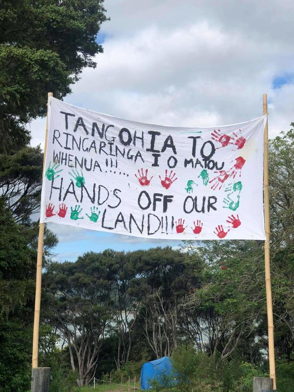 The Ngāpuhi protestors camp on Puketiti, an old headland in the Bay of Plenty town of Opua which was sold for a housing development earlier this year.