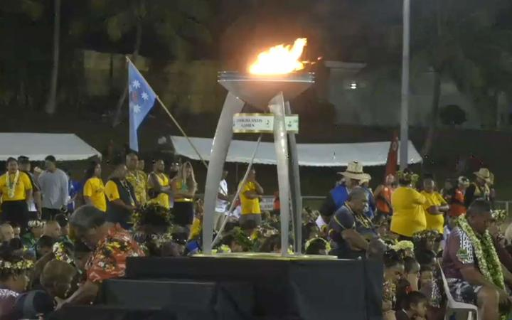 The flame burns bright during the Cook Islands Games closing ceremony.