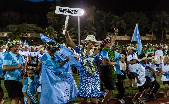 The Cook Islands celebrate the success of the event at the 2020 closing ceremony.