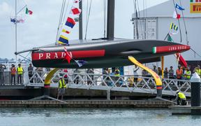 America's Cup challenger Luna Rossa Prada Pirelli Team christen and launch their second AC75 at their Base in Aucklands Viaduct Harbour,
