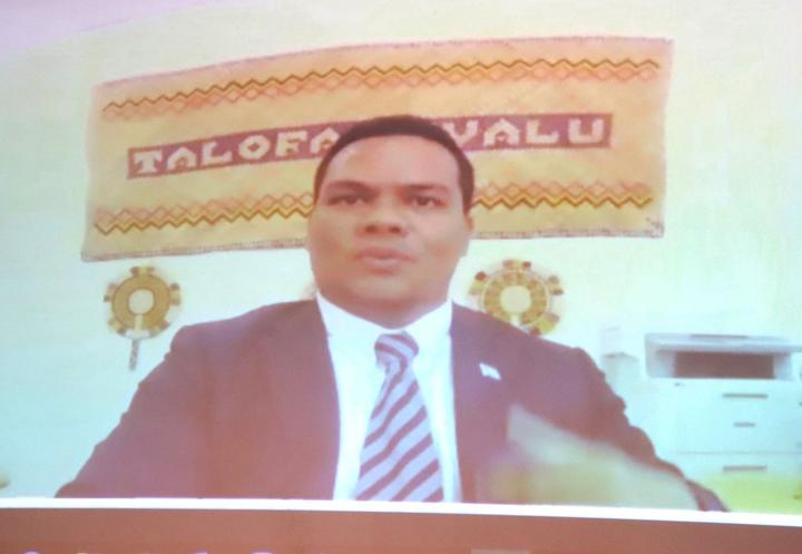 Simon Kofe is Tuvalu Foreign Minister.