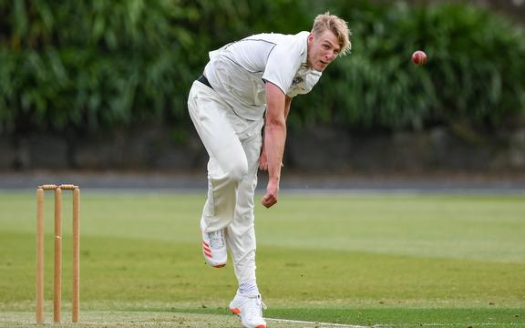 Kyle Jamieson bowling for Auckland 2020.