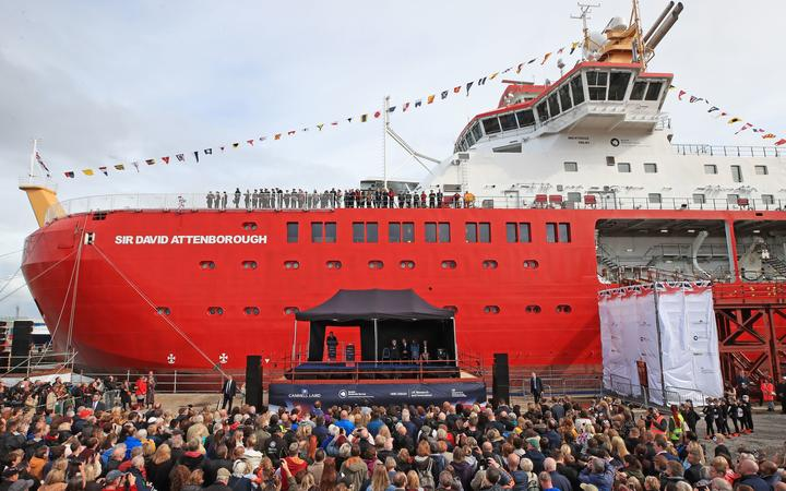 Britain's Prince William, Duke of Cambridge, Catherine, Duchess of Cambridge and Sir David  Attenborough attend the naming ceremony of Britain's new polar in research ship, the RRS Sir David Attenborough in Birkenhead in Sept 2019