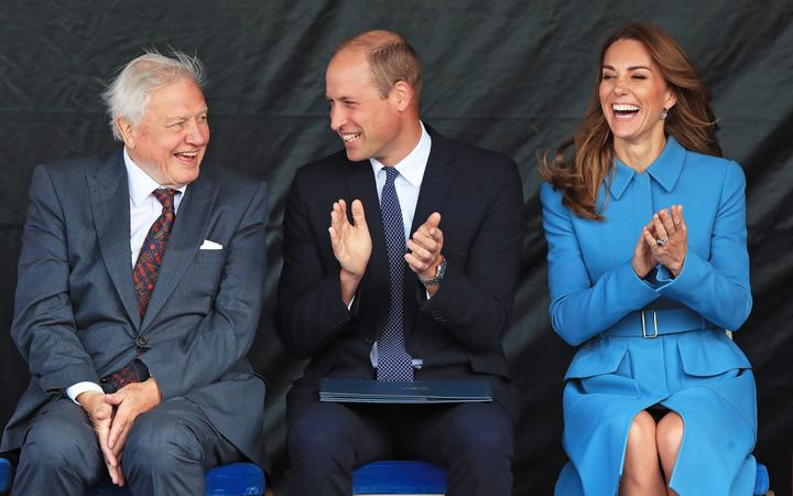 Britain's Prince William, Duke of Cambridge, (C), Catherine, Duchess of Cambridge (R) and Sir David  Attenborough (L) attend the naming ceremony of Britain's new polar research ship, the RRS Sir David Attenborough in Birkenhead, d on September 26, 2019.