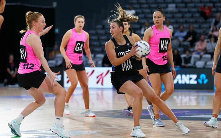 Gina Crampton playing against New Zealand A, 2020.
