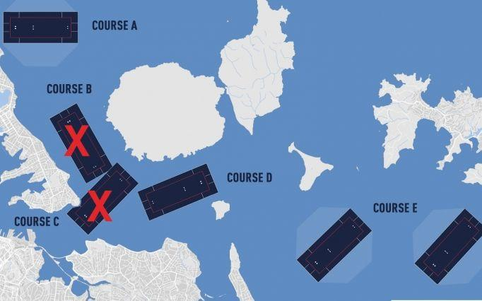 The map supplied by Emirates Team New Zealand showing the courses it says now won't be used for racing.