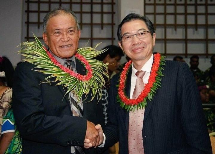 Marshall Islands President David Kabua, left, is congratulated by Taiwan's ambassador to the republic Jeffrey Hsiao following his election victory in January.