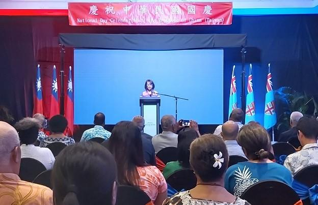 Jessica Lee of the Taiwan Trade Mission in Fiji addresses guests at its national day celebrations in Suva on 8 October.