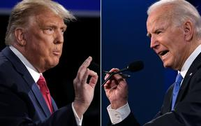 (COMBO) This combination of pictures created on October 22, 2020 shows US President Donald Trump (L) and Democratic Presidential candidate and former US Vice President Joe Biden during the final presidential debate at Belmont University in Nashville, Tennessee, on October 22, 2020.