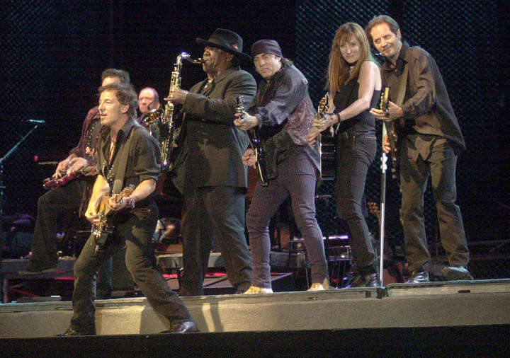 BOSTON - SEPTEMBER 6:  Bruce Springsteen (L) performs with members of The E Street Band on the first night of Bruce Springsteen's concert series at Fenway Park September 6, 2003 in Boston, Massachusetts.