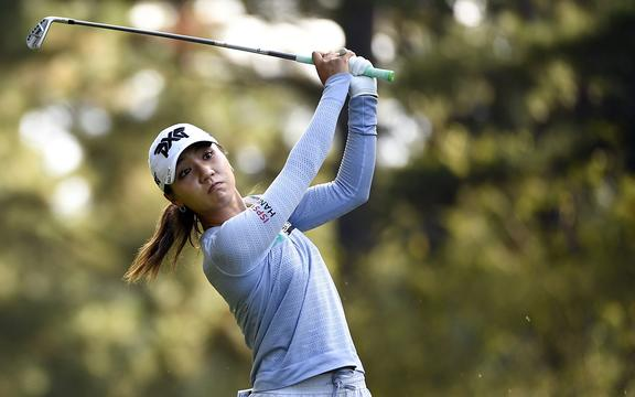 Lydia Ko of New Zealand tees off on the fourth hole during round one of the 2020 LPGA Drive On Championship on October 22, 2020 in Greensboro, Georgia.