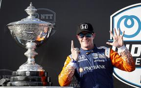 2020 Champion #9 Scott Dixon, Chip Ganassi Racing Honda with the Astor Cup