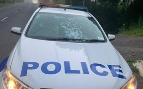 The police car shot at in Northland on 27 October 2020.
