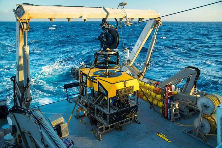 The SuBastian awaiting deployment from the back of the Falkor, while exploring Flinders Reef.
