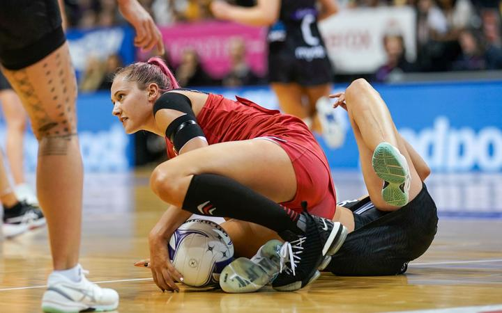 England's George Fisher in action against Silver Ferns 2020.