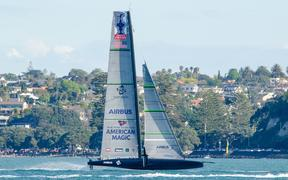 Americas Cup USA challenger Patriot of American Magic training on Waitemata Harbour.