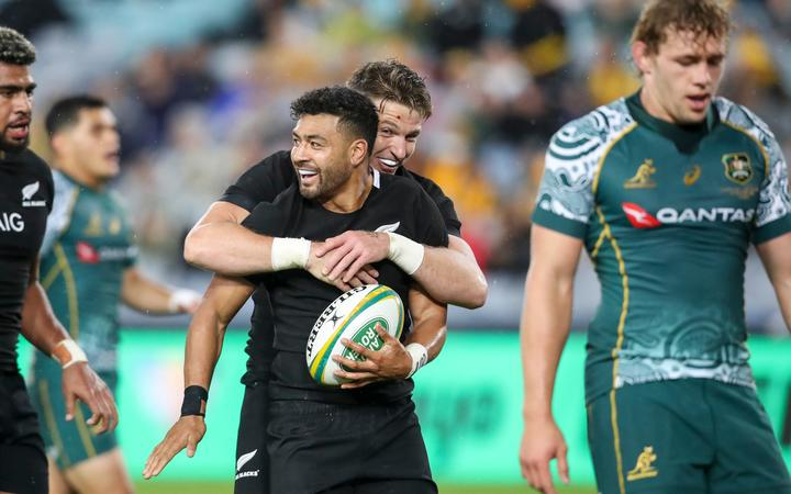 Richie Mo'unga celebrates his second try with Beauden Barrett in the Bledisloe Cup rugby union test match at ANZ Stadium, Sydney, Australia. 31st Oct 2020.