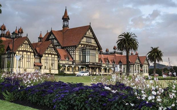Rotorua's Bath House, designed by Benjamin Corlett, is a popular tourist attraction.