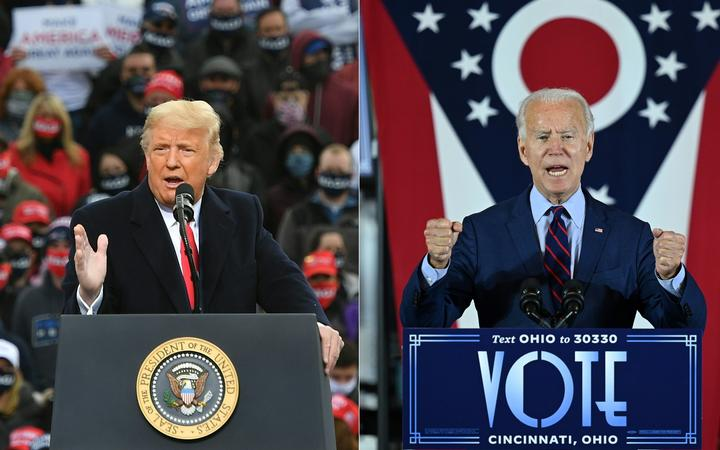 Donald Trump speaks during a campaign rally in New Hampshire on October 25, 2020.  and Joe Biden speaking in Cincinnati, Ohio, on October 12, 2020