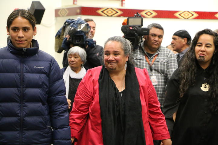 Glenis Philip-Barbara (centre) and Julia Whaipooti from the Office of the Children's Commission (right).