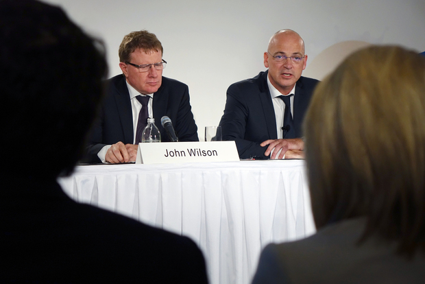 Fonterra chairman John Wilson and chief executive Theo Spierings.
