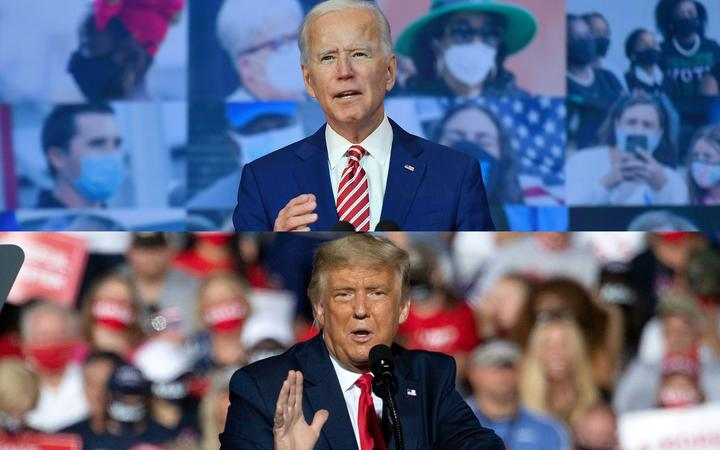 (COMBO) This combination of pictures created on October 30, 2020 shows Democratic presidential nominee and former Vice President Joe Biden