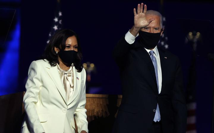 WILMINGTON, DELAWARE - NOVEMBER 07: President-elect Joe Biden and Vice President-elect Kamala Harris take the stage at the Chase Center to address the nation November 07, 2020 in Wilmington, Delaware.