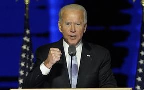 US President-elect Joe Biden makes his first speech after being declared the winner of the US presidential election.