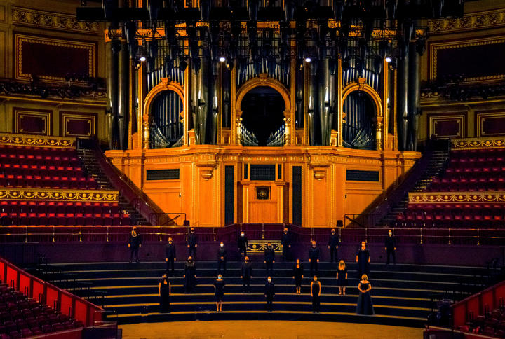 Whānau: Voices of Aotearoa, far from home performers at the Royal Albert Hall, London.