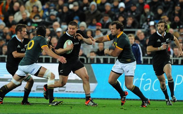 All Blacks Richie McCaw, Dane Coles and Conrad Smith in action against South Africa in Wellington 2014