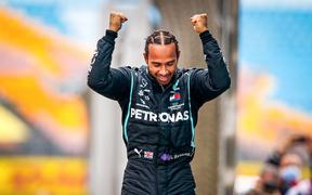 The winner and for the 7th time Formula 1 World Champion Lewis Hamilton 2020.