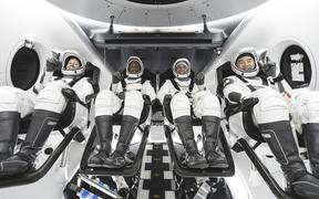SpaceX crew, from left, NASA astronauts Shannon Walker, Victor Glover, Mike Hopkins, and JAXA (Japan Aerospace Exploration Agency) astronaut Soichi Noguchi.