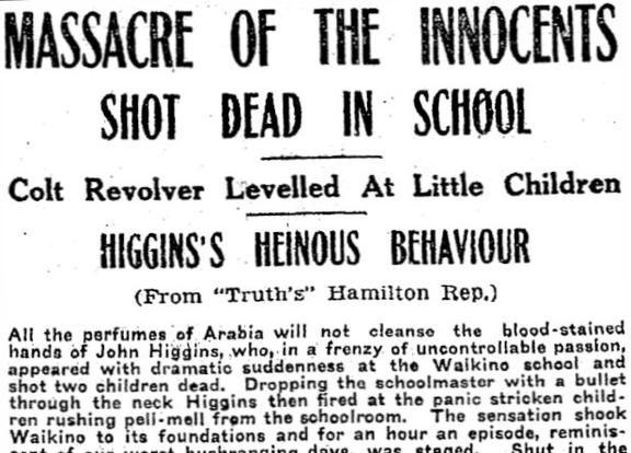 Truth diary reporting the tragedy of the 1923 Waikino school shooting.
