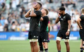 Tupou Vaa'i, Damian McKenzie and Ardie Savea after the loss to Argentina 2020.