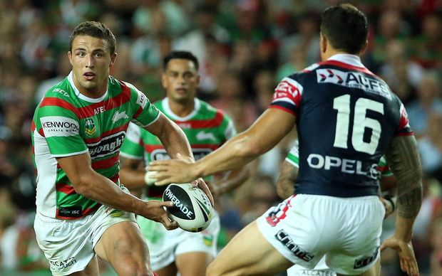 Sam Burgess takes on Sonny Bill Williams. Roosters v Rabbitohs. NRL rugby league match. 2013.