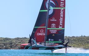 Team NZ trialling their new America's Cup boat Te Rehutai on the Waitemata Harbour, 2020.